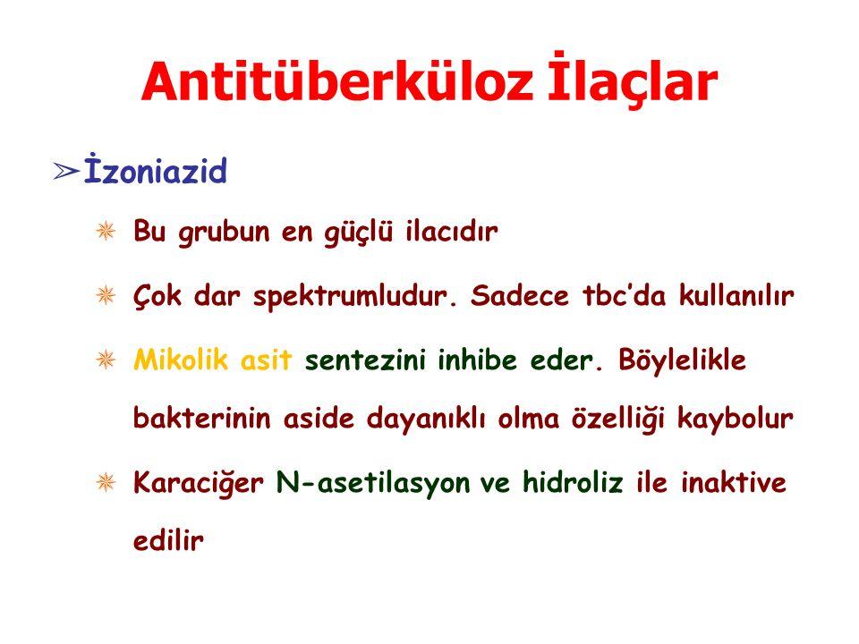 Antitüberküloz İlaçlar ➢ İzoniazid ✵ Bu grubun en güçlü ilacıdır ✵ Çok dar spektrumludur. Sadece tbc'da kullanılır ✵ Mikolik asit sentezini inhibe ede