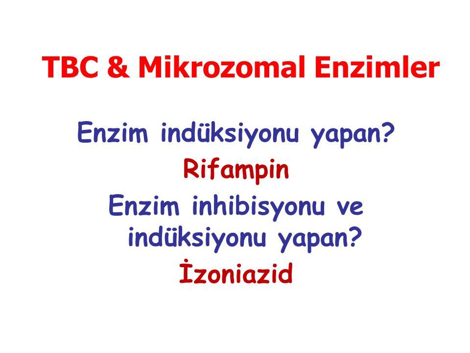 Enzim indüksiyonu yapan? Rifampin Enzim inhibisyonu ve indüksiyonu yapan? İzoniazid TBC & Mikrozomal Enzimler