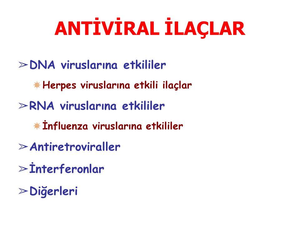 ANTİVİRAL İLAÇLAR ➢ DNA viruslarına etkililer ✵ Herpes viruslarına etkili ilaçlar ➢ RNA viruslarına etkililer ✵ İnfluenza viruslarına etkililer ➢ Antiretroviraller ➢ İnterferonlar ➢ Diğerleri