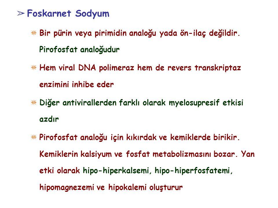 ➢ Foskarnet Sodyum ✵ Bir pürin veya pirimidin analoğu yada ön-ilaç değildir. Pirofosfat analoğudur ✵ Hem viral DNA polimeraz hem de revers transkripta
