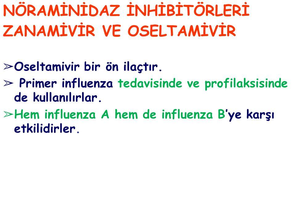NÖRAMİNİDAZ İNHİBİTÖRLERİ ZANAMİVİR VE OSELTAMİVİR ➢ Oseltamivir bir ön ilaçtır. ➢ Primer influenza tedavisinde ve profilaksisinde de kullanılırlar. ➢