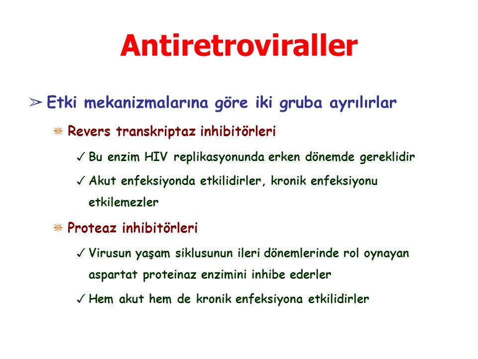 Antiretroviraller ➢ Etki mekanizmalarına göre iki gruba ayrılırlar ✵ Revers transkriptaz inhibitörleri ✓ Bu enzim HIV replikasyonunda erken dönemde gereklidir ✓ Akut enfeksiyonda etkilidirler, kronik enfeksiyonu etkilemezler ✵ Proteaz inhibitörleri ✓ Virusun yaşam siklusunun ileri dönemlerinde rol oynayan aspartat proteinaz enzimini inhibe ederler ✓ Hem akut hem de kronik enfeksiyona etkilidirler