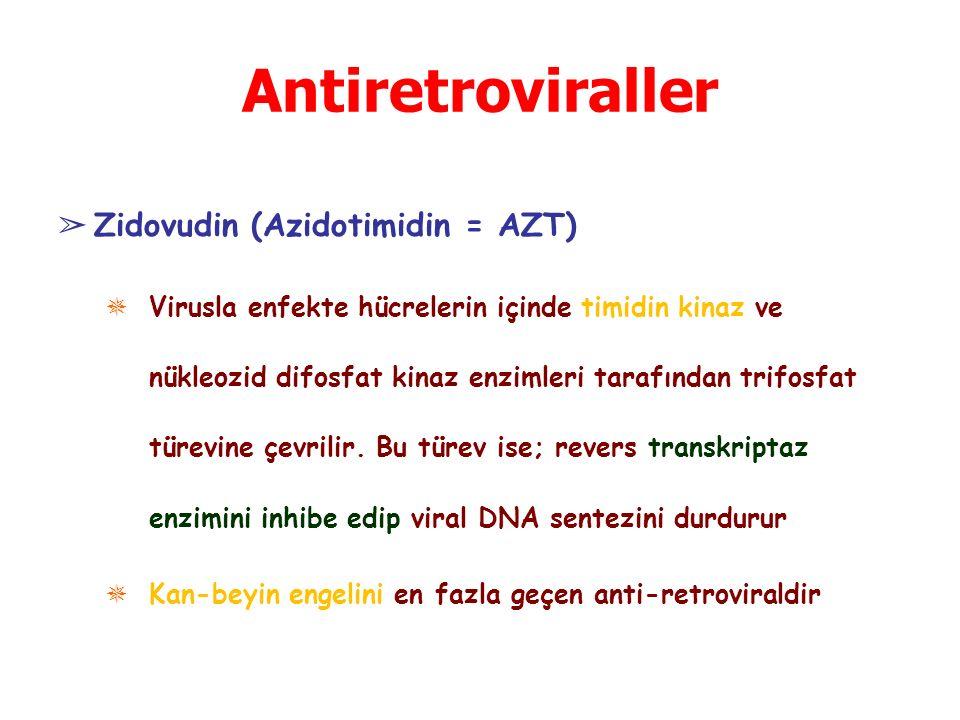 Antiretroviraller ➢ Zidovudin (Azidotimidin = AZT) ✵ Virusla enfekte hücrelerin içinde timidin kinaz ve nükleozid difosfat kinaz enzimleri tarafından trifosfat türevine çevrilir.