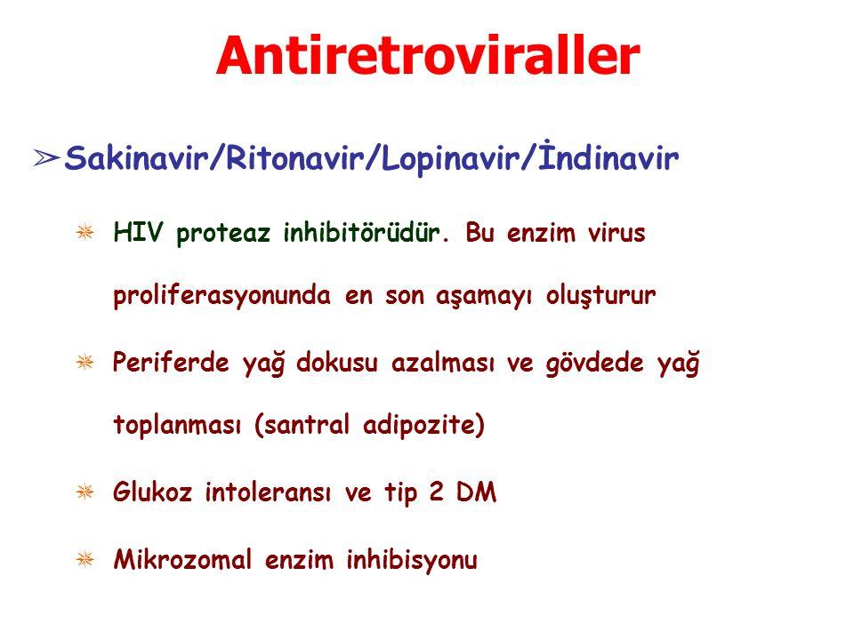 Antiretroviraller ➢ Sakinavir/Ritonavir/Lopinavir/İndinavir ✵ HIV proteaz inhibitörüdür. Bu enzim virus proliferasyonunda en son aşamayı oluşturur ✵ P