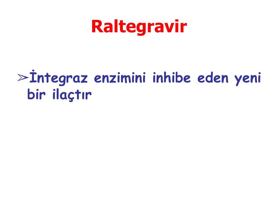 Raltegravir ➢ İntegraz enzimini inhibe eden yeni bir ilaçtır