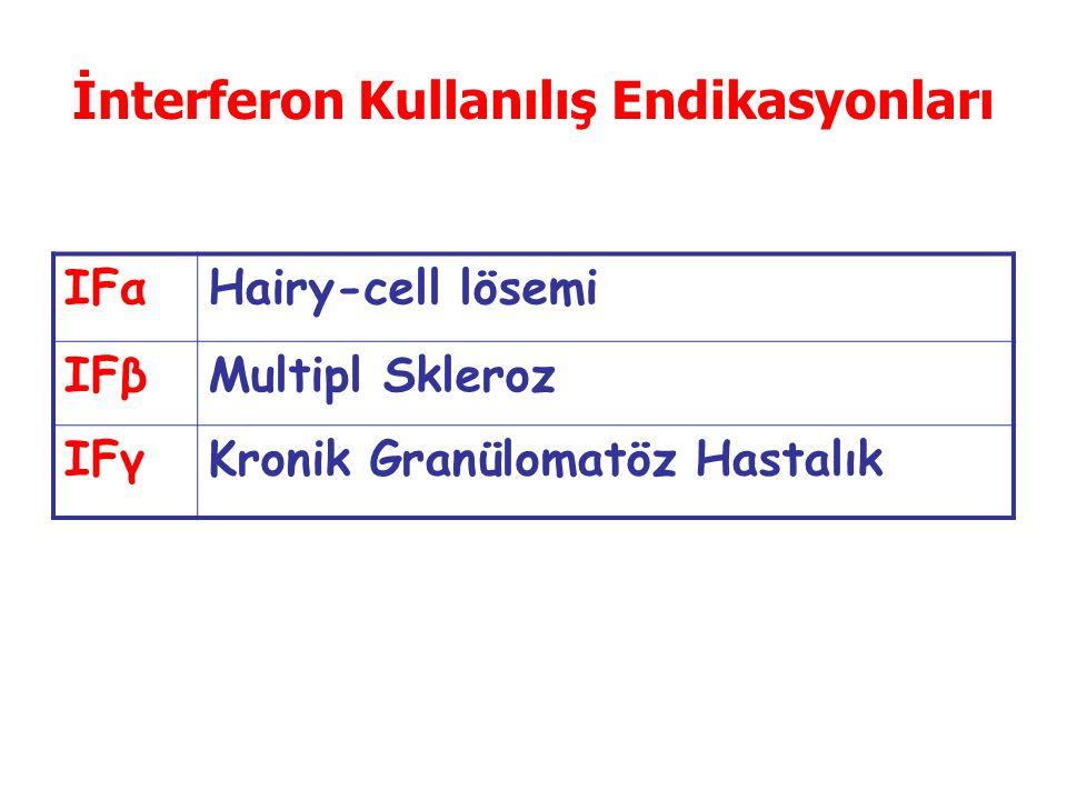 İnterferon Kullanılış Endikasyonları IFαHairy-cell lösemi IFβMultipl Skleroz IFγKronik Granülomatöz Hastalık