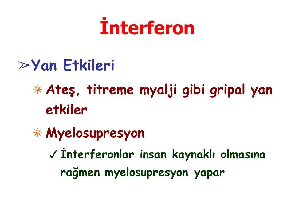 İnterferon ➢ Yan Etkileri ✵ Ateş, titreme myalji gibi gripal yan etkiler ✵ Myelosupresyon ✓ İnterferonlar insan kaynaklı olmasına rağmen myelosupresyon yapar