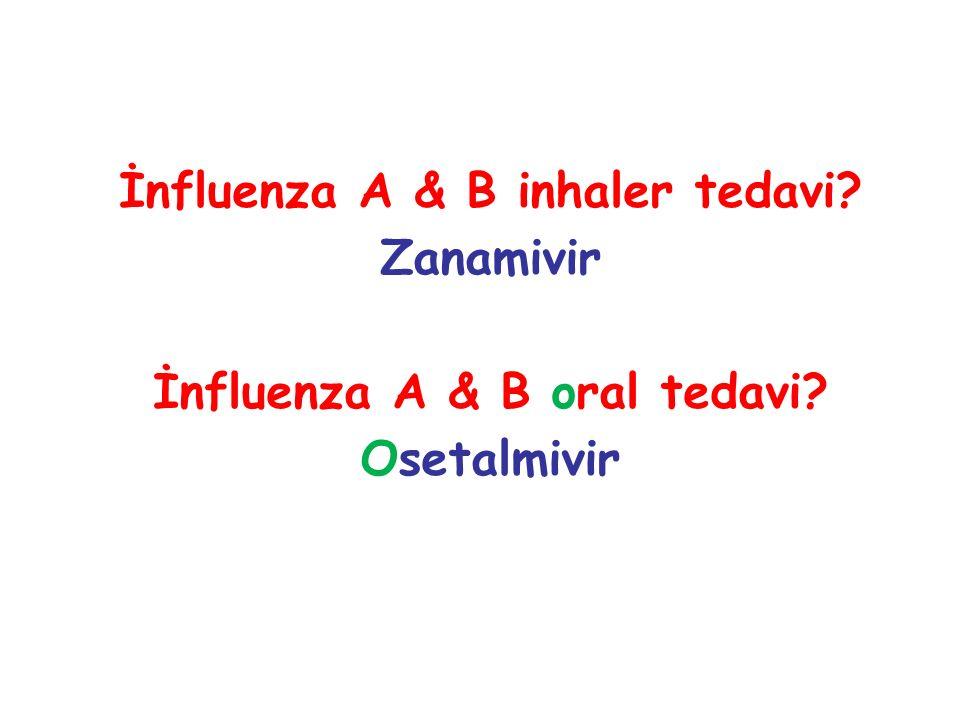 İnfluenza A & B inhaler tedavi? Zanamivir İnfluenza A & B oral tedavi? Osetalmivir