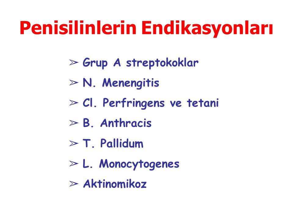 Penisilinlerin Endikasyonları ➢ Grup A streptokoklar ➢ N.