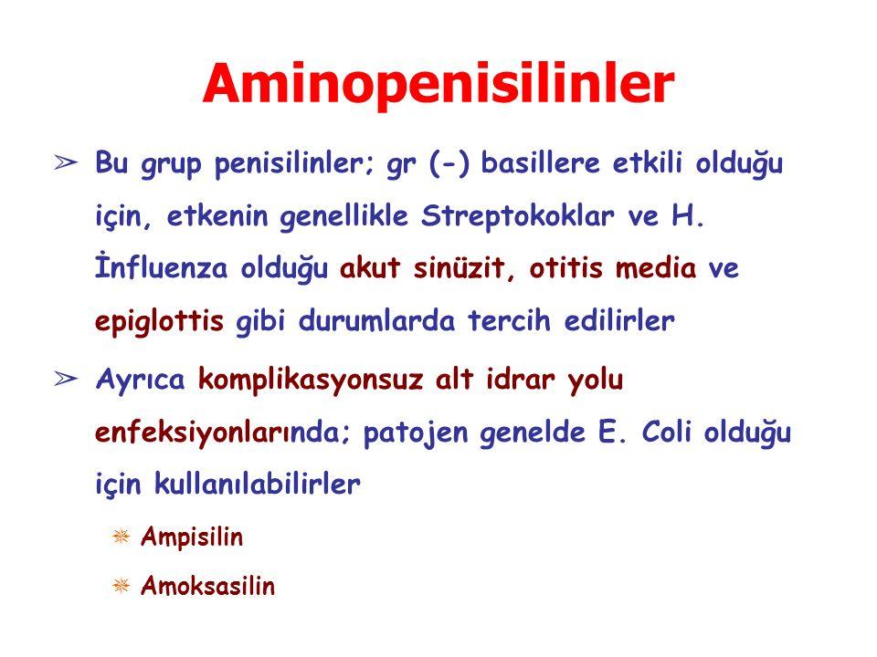 Aminopenisilinler ➢ Bu grup penisilinler; gr (-) basillere etkili olduğu için, etkenin genellikle Streptokoklar ve H. İnfluenza olduğu akut sinüzit, o