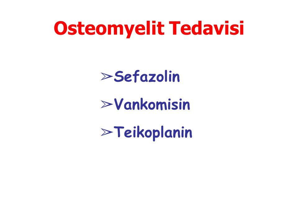 Osteomyelit Tedavisi ➢ Sefazolin ➢ Vankomisin ➢ Teikoplanin