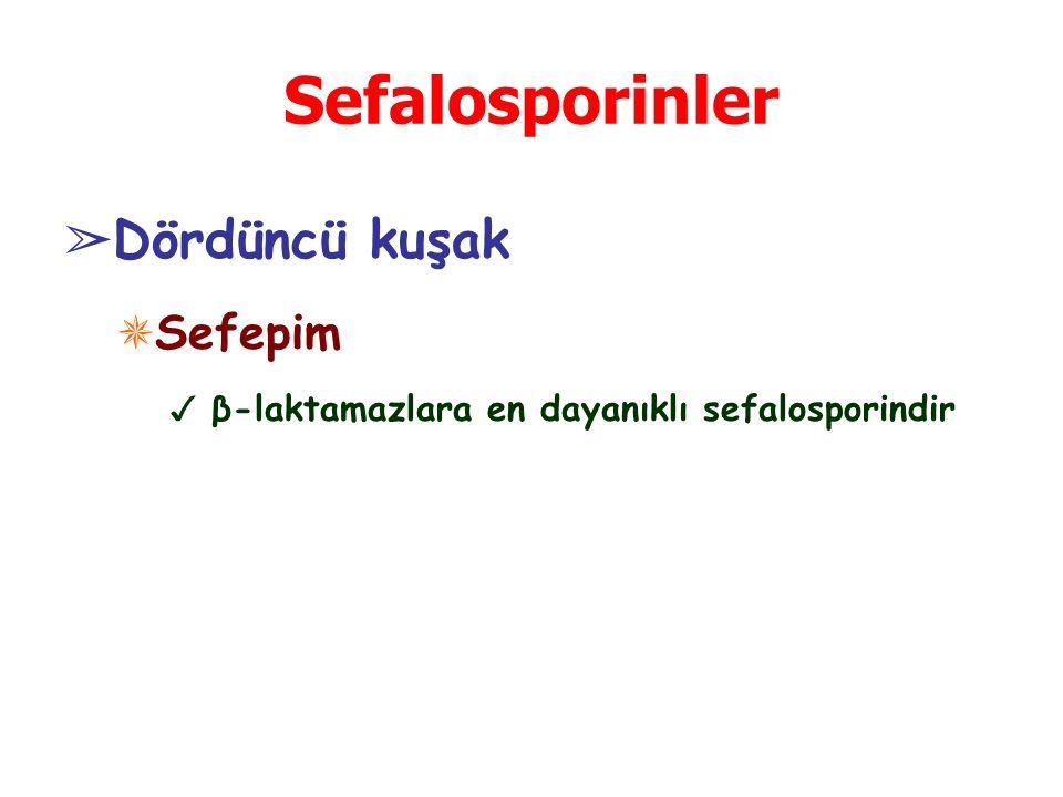 Sefalosporinler ➢ Dördüncü kuşak ✵ Sefepim ✓ β-laktamazlara en dayanıklı sefalosporindir