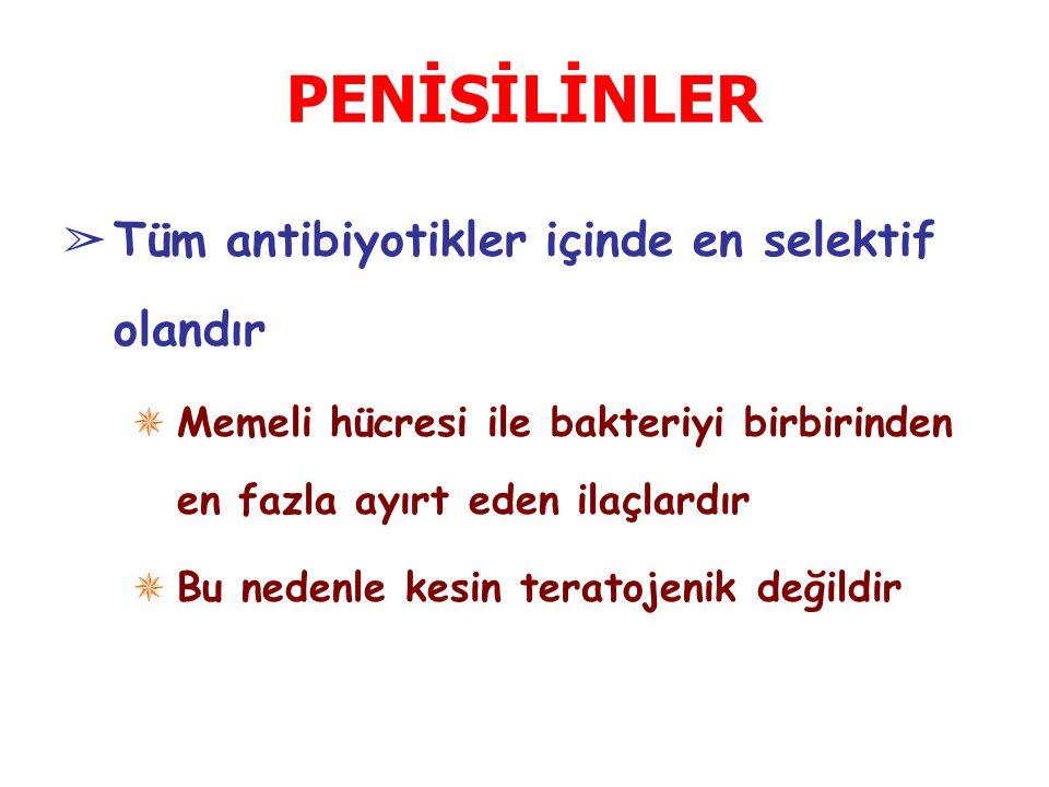 β-laktamazlara Dayanıklı Penisilinler ➢ Bu grup ilaçlar; penisilin G'ye dirençli Staph aureus ve epidermidis enfeksiyonlarında kullanılırlar ✵ Metisilin ✵ Nafsilin ✵ Temosilin / Formidasilin ✵ İzoksazolil penisilinler (oksasilin, kloksasilin, dikloksasilin, flokloksasilin)