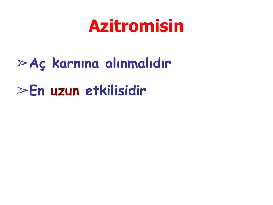 Azitromisin ➢ Aç karnına alınmalıdır ➢ En uzun etkilisidir