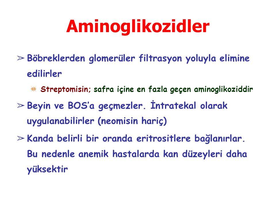 Aminoglikozidler ➢ Böbreklerden glomerüler filtrasyon yoluyla elimine edilirler ✵ Streptomisin; safra içine en fazla geçen aminoglikoziddir ➢ Beyin ve