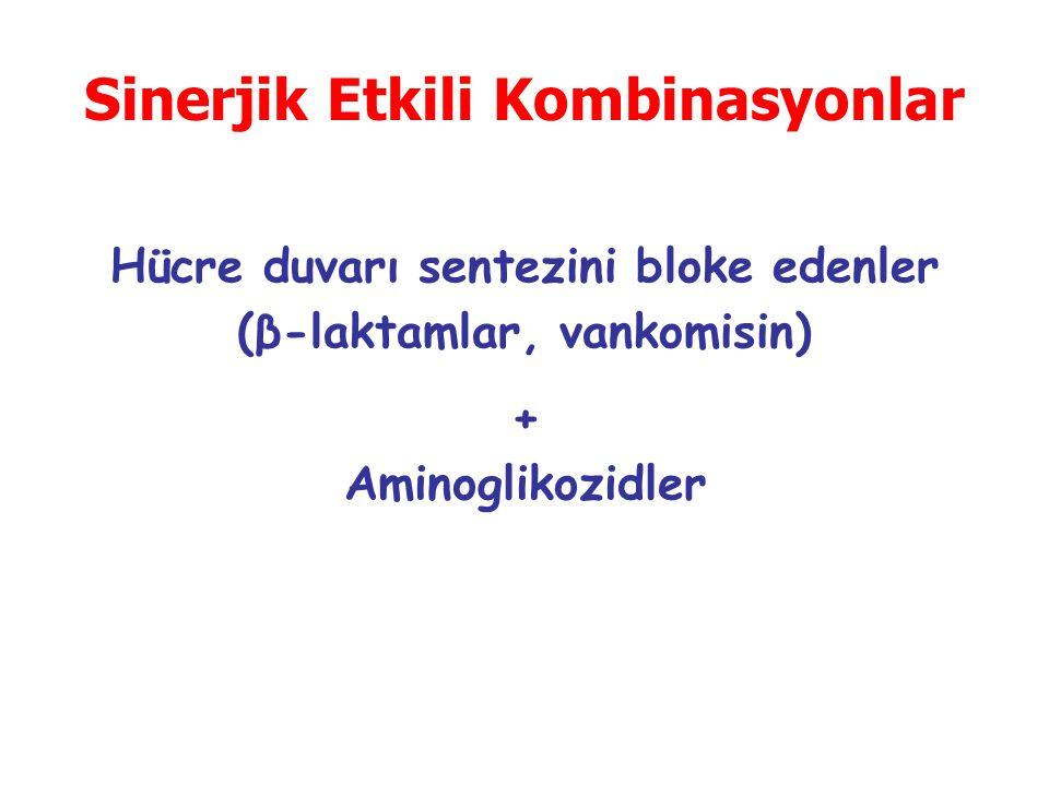 Sinerjik Etkili Kombinasyonlar Hücre duvarı sentezini bloke edenler (β-laktamlar, vankomisin) + Aminoglikozidler