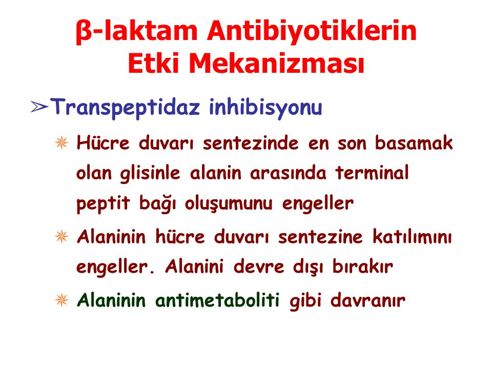 β-laktam Antibiyotiklerin Etki Mekanizması ➢ Transpeptidaz inhibisyonu ✵ Hücre duvarı sentezinde en son basamak olan glisinle alanin arasında terminal peptit bağı oluşumunu engeller ✵ Alaninin hücre duvarı sentezine katılımını engeller.