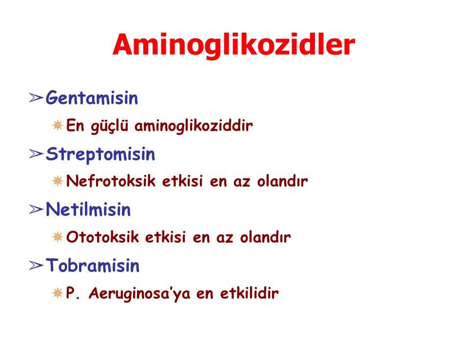 Aminoglikozidler ➢ Gentamisin ✵ En güçlü aminoglikoziddir ➢ Streptomisin ✵ Nefrotoksik etkisi en az olandır ➢ Netilmisin ✵ Ototoksik etkisi en az olan