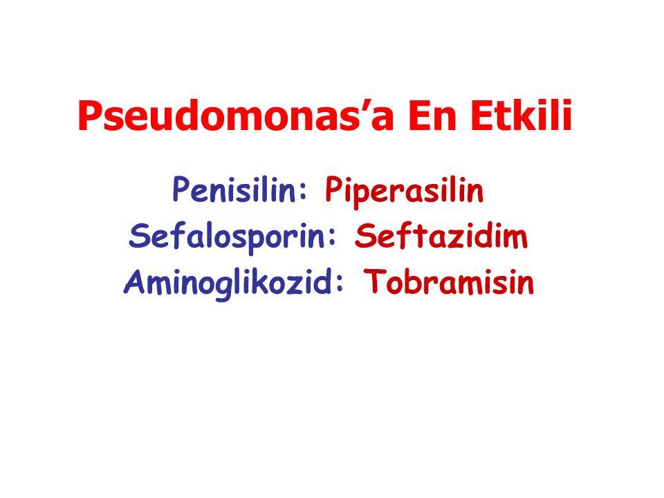 Penisilin: Piperasilin Sefalosporin: Seftazidim Aminoglikozid: Tobramisin Pseudomonas'a En Etkili