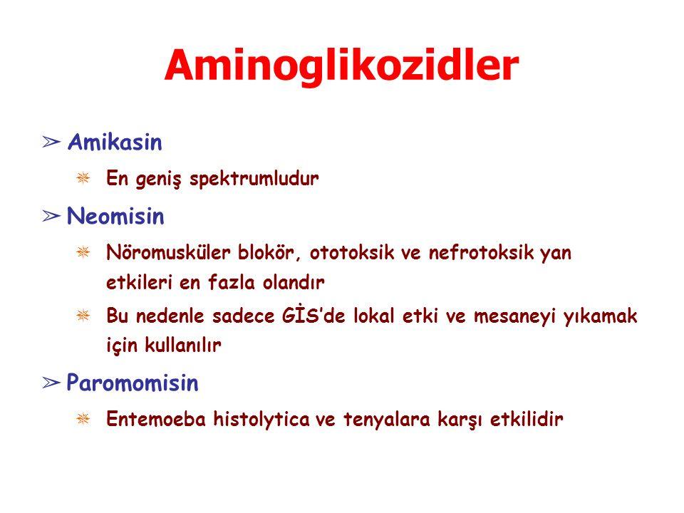 Aminoglikozidler ➢ Amikasin ✵ En geniş spektrumludur ➢ Neomisin ✵ Nöromusküler blokör, ototoksik ve nefrotoksik yan etkileri en fazla olandır ✵ Bu ned