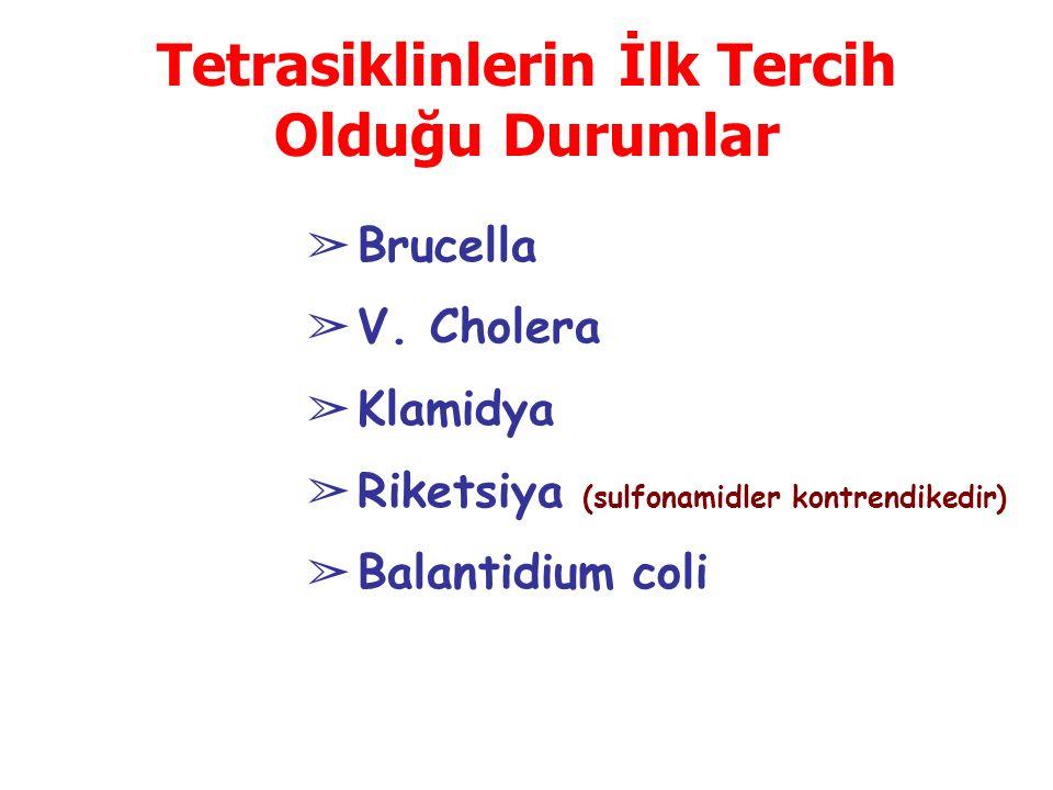 Tetrasiklinlerin İlk Tercih Olduğu Durumlar ➢ Brucella ➢ V. Cholera ➢ Klamidya ➢ Riketsiya (sulfonamidler kontrendikedir) ➢ Balantidium coli