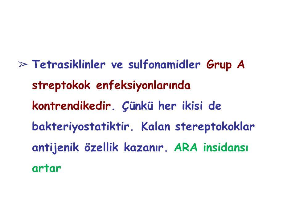 ➢ Tetrasiklinler ve sulfonamidler Grup A streptokok enfeksiyonlarında kontrendikedir. Çünkü her ikisi de bakteriyostatiktir. Kalan stereptokoklar anti
