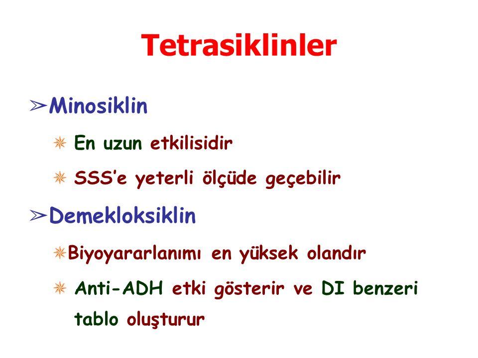 Tetrasiklinler ➢ Minosiklin ✵ En uzun etkilisidir ✵ SSS'e yeterli ölçüde geçebilir ➢ Demekloksiklin ✵ Biyoyararlanımı en yüksek olandır ✵ Anti-ADH etki gösterir ve DI benzeri tablo oluşturur