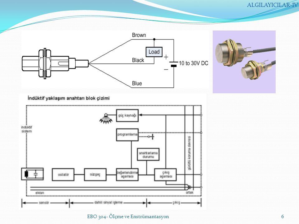 Endüktif Yaklaşım Sensörünün Üstünlükleri EBO 304- Ölçme ve Enstrümantasyon7 ALGILAYICILAR-IV Boyutlarının küçük olması nedeniyle mekanik anahtarların kullanılamayacağı yerlerde kullanılabilir.