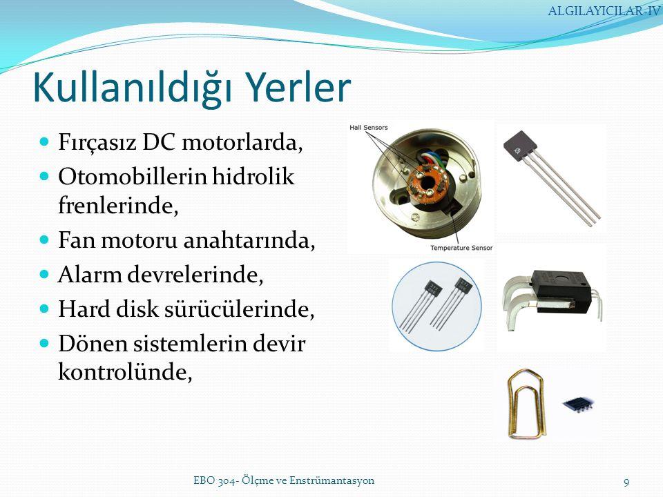 LVDT (lineer variable differential transformator) LVDT mekanik olarak hareketlendirilmiş nüvesi ile bir transformatördür Hareket enerjisini elektrik enerjisine çevirir Bobinin içinde nüve hareket ettikçe endüktans değişir EBO 304- Ölçme ve Enstrümantasyon10 ALGILAYICILAR-IV