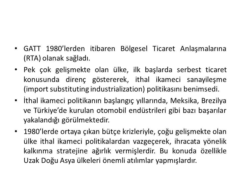 GATT 1980'lerden itibaren Bölgesel Ticaret Anlaşmalarına (RTA) olanak sağladı.