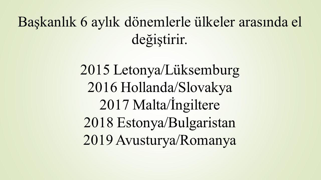 Başkanlık 6 aylık dönemlerle ülkeler arasında el değiştirir. 2015 Letonya/Lüksemburg 2016 Hollanda/Slovakya 2017 Malta/İngiltere 2018 Estonya/Bulgaris