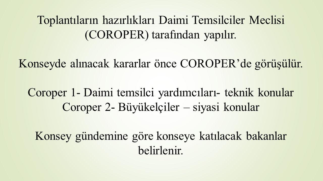 Toplantıların hazırlıkları Daimi Temsilciler Meclisi (COROPER) tarafından yapılır. Konseyde alınacak kararlar önce COROPER'de görüşülür. Coroper 1- Da