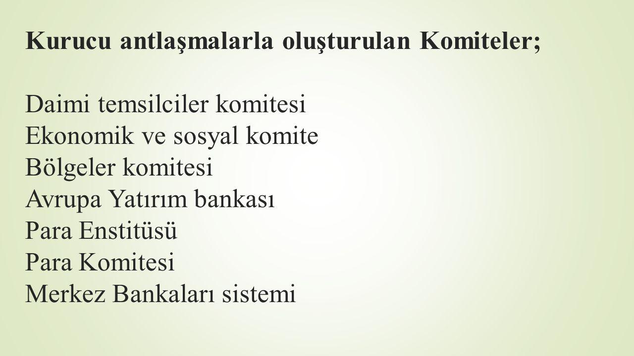 Kurucu antlaşmalarla oluşturulan Komiteler; Daimi temsilciler komitesi Ekonomik ve sosyal komite Bölgeler komitesi Avrupa Yatırım bankası Para Enstitüsü Para Komitesi Merkez Bankaları sistemi