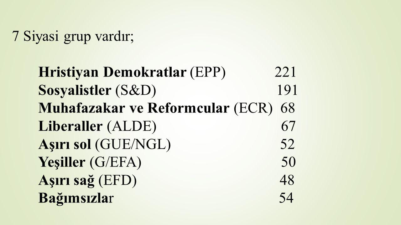 7 Siyasi grup vardır; Hristiyan Demokratlar (EPP) 221 Sosyalistler (S&D) 191 Muhafazakar ve Reformcular (ECR) 68 Liberaller (ALDE) 67 Aşırı sol (GUE/NGL) 52 Yeşiller (G/EFA) 50 Aşırı sağ (EFD) 48 Bağımsızlar 54