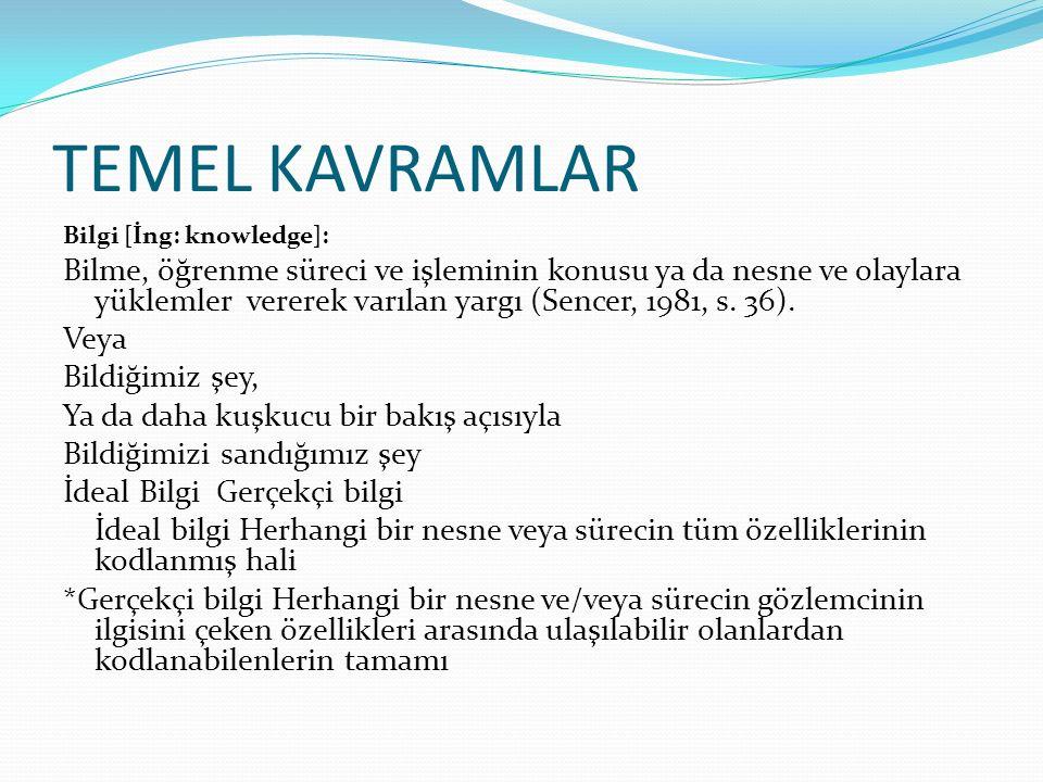 TEMEL KAVRAMLAR Bilgi [İng: knowledge]: Bilme, öğrenme süreci ve işleminin konusu ya da nesne ve olaylara yüklemler vererek varılan yargı (Sencer, 198