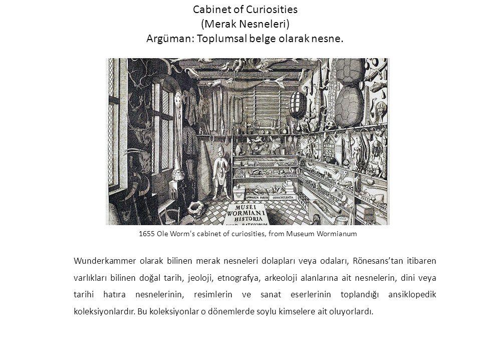 Cabinet of Curiosities (Merak Nesneleri) Argüman: Toplumsal belge olarak nesne.
