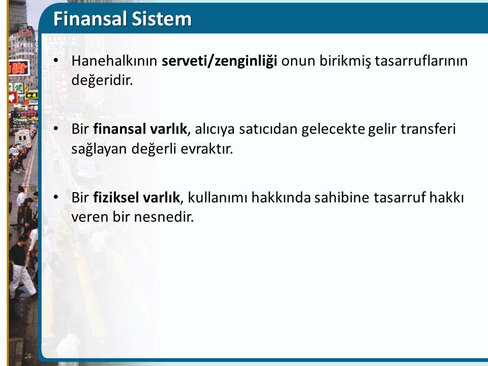 Finansal Sistem Hanehalkının serveti/zenginliği onun birikmiş tasarruflarının değeridir. Bir finansal varlık, alıcıya satıcıdan gelecekte gelir transf