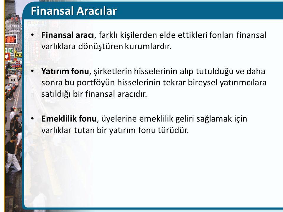 Finansal Aracılar Finansal aracı, farklı kişilerden elde ettikleri fonları finansal varlıklara dönüştüren kurumlardır. Yatırım fonu, şirketlerin hisse