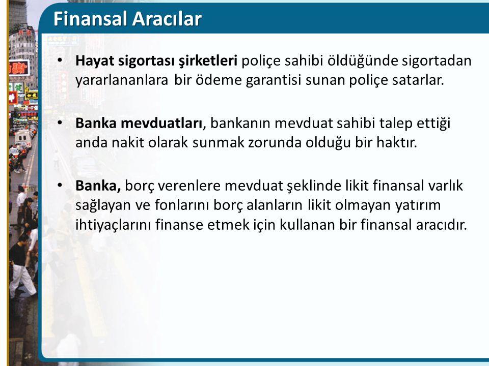 Finansal Aracılar Hayat sigortası şirketleri poliçe sahibi öldüğünde sigortadan yararlananlara bir ödeme garantisi sunan poliçe satarlar. Banka mevdua