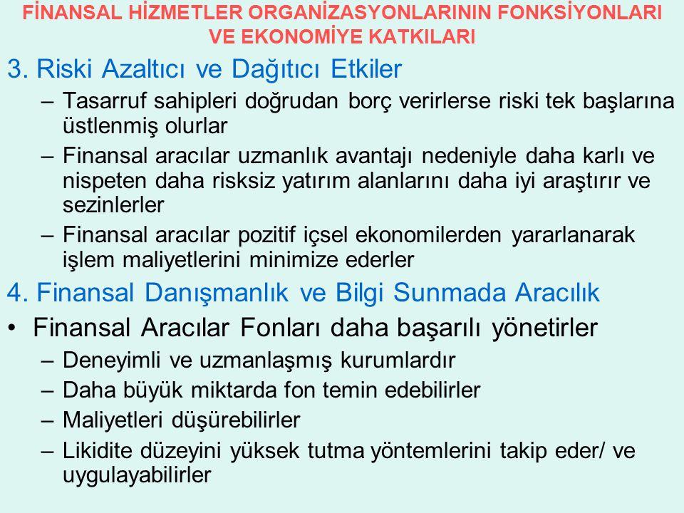 FİNANSAL HİZMETLER ORGANİZASYONLARININ FONKSİYONLARI VE EKONOMİYE KATKILARI 3.