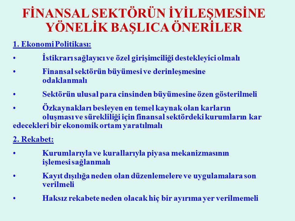 FİNANSAL SEKTÖRÜN İYİLEŞMESİNE YÖNELİK BAŞLICA ÖNERİLER 1.