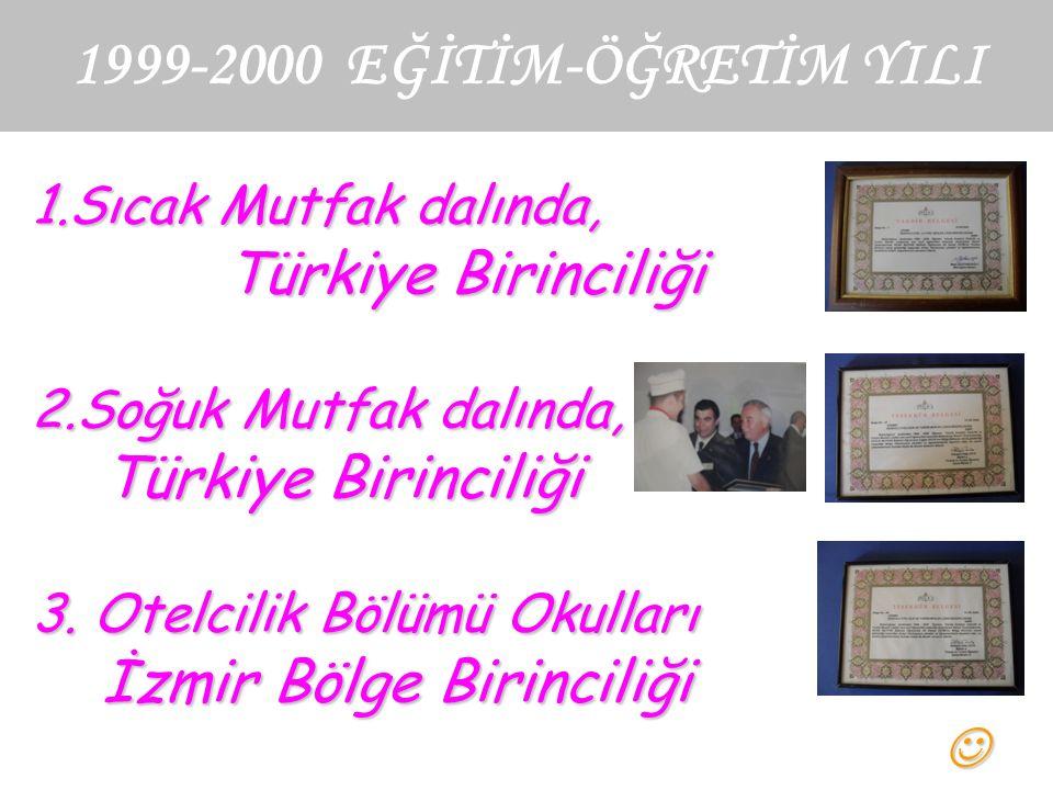 1999-2000 EĞİTİM-ÖĞRETİM YILI 1.Sıcak Mutfak dalında, Türkiye Birinciliği 2.Soğuk Mutfak dalında, Türkiye Birinciliği 3.