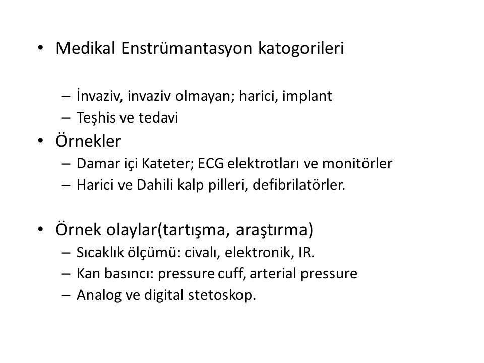 Medikal Enstrümantasyon katogorileri – İnvaziv, invaziv olmayan; harici, implant – Teşhis ve tedavi Örnekler – Damar içi Kateter; ECG elektrotları ve monitörler – Harici ve Dahili kalp pilleri, defibrilatörler.