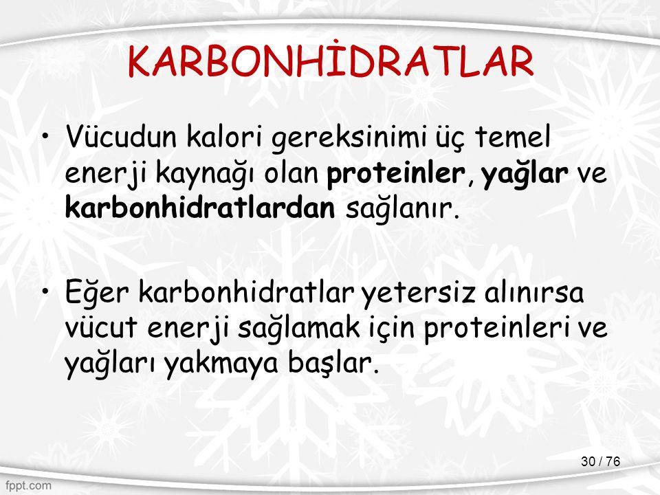KARBONHİDRATLAR Vücudun kalori gereksinimi üç temel enerji kaynağı olan proteinler, yağlar ve karbonhidratlardan sağlanır. Eğer karbonhidratlar yeters