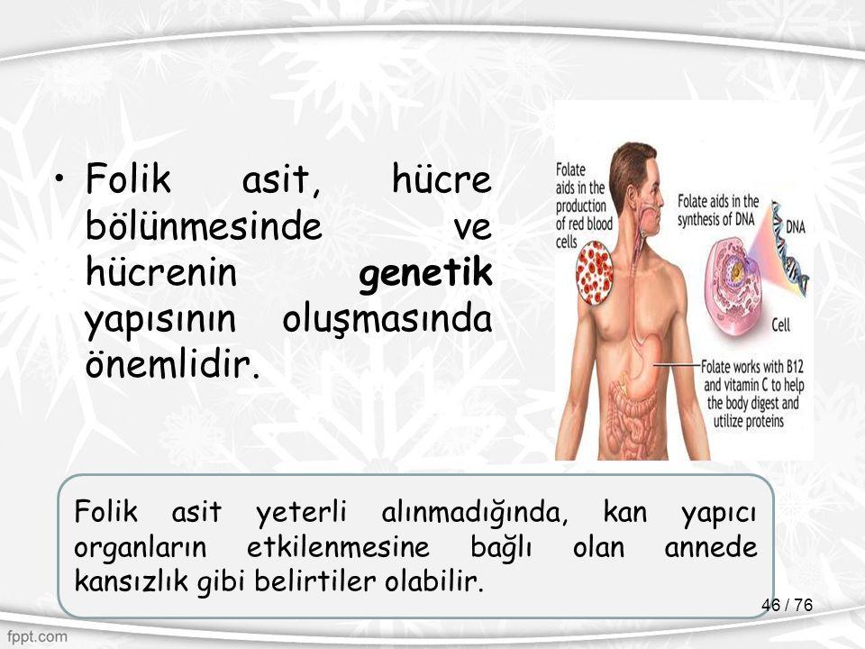 Folik asit, hücre bölünmesinde ve hücrenin genetik yapısının oluşmasında önemlidir. Folik asit yeterli alınmadığında, kan yapıcı organların etkilenmes