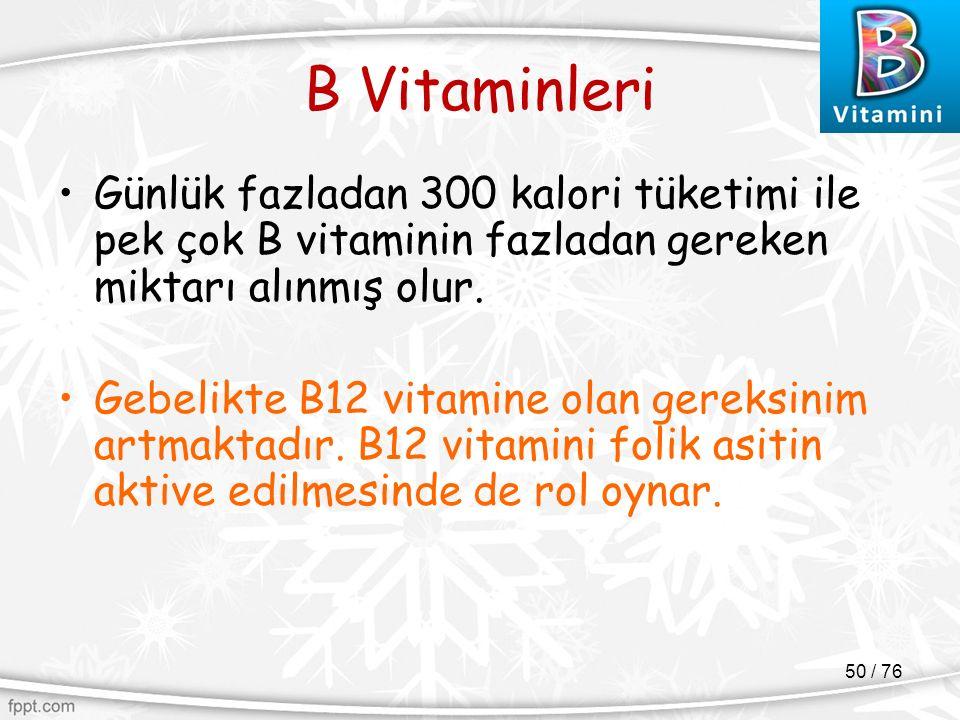 B Vitaminleri Günlük fazladan 300 kalori tüketimi ile pek çok B vitaminin fazladan gereken miktarı alınmış olur. Gebelikte B12 vitamine olan gereksini