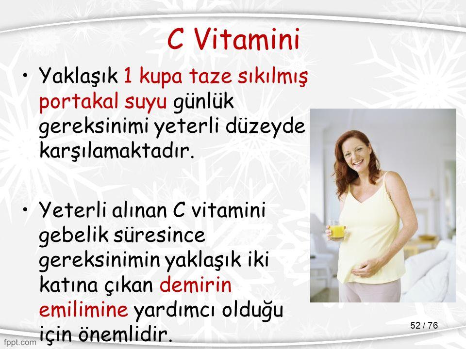 C Vitamini Yaklaşık 1 kupa taze sıkılmış portakal suyu günlük gereksinimi yeterli düzeyde karşılamaktadır. Yeterli alınan C vitamini gebelik süresince