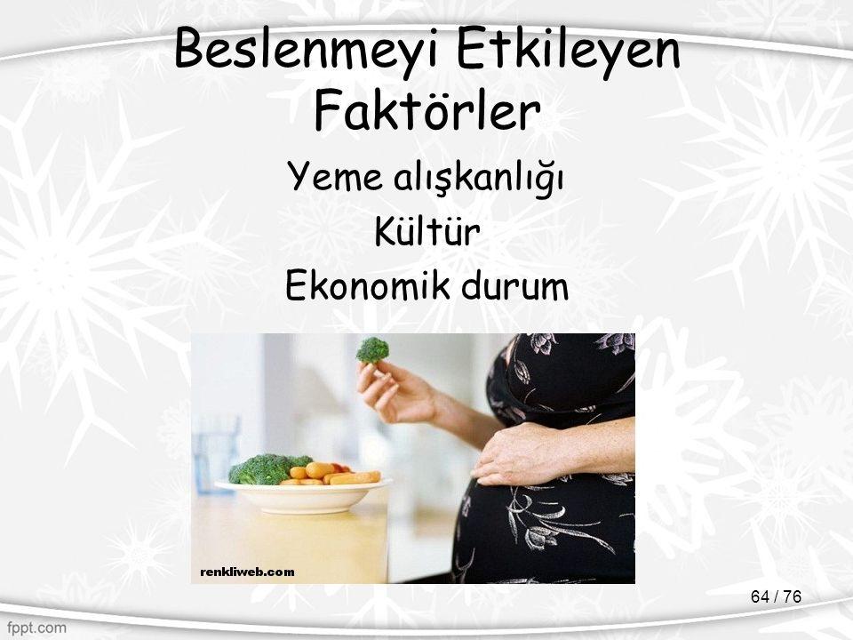 Beslenmeyi Etkileyen Faktörler Yeme alışkanlığı Kültür Ekonomik durum 64 / 76