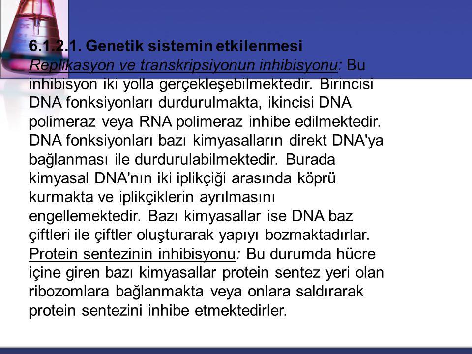 6.1.2.1. Genetik sistemin etkilenmesi Replikasyon ve transkripsiyonun inhibisyonu: Bu inhibisyon iki yolla gerçekleşebilmektedir. Birincisi DNA fonksi