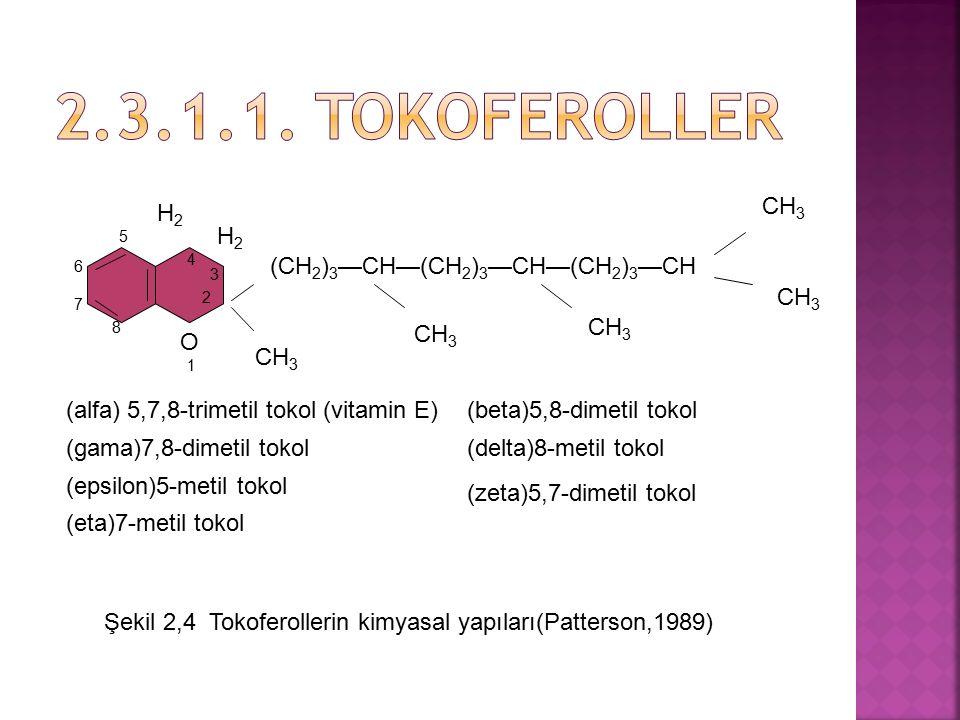 5 (CH 2 ) 3 —CH—(CH 2 ) 3 —CH—(CH 2 ) 3 —CH CH 3 3 H2H2 H2H2 O 1 2 4 6 7 8 (alfa) 5,7,8-trimetil tokol (vitamin E) (gama)7,8-dimetil tokol (epsilon)5-
